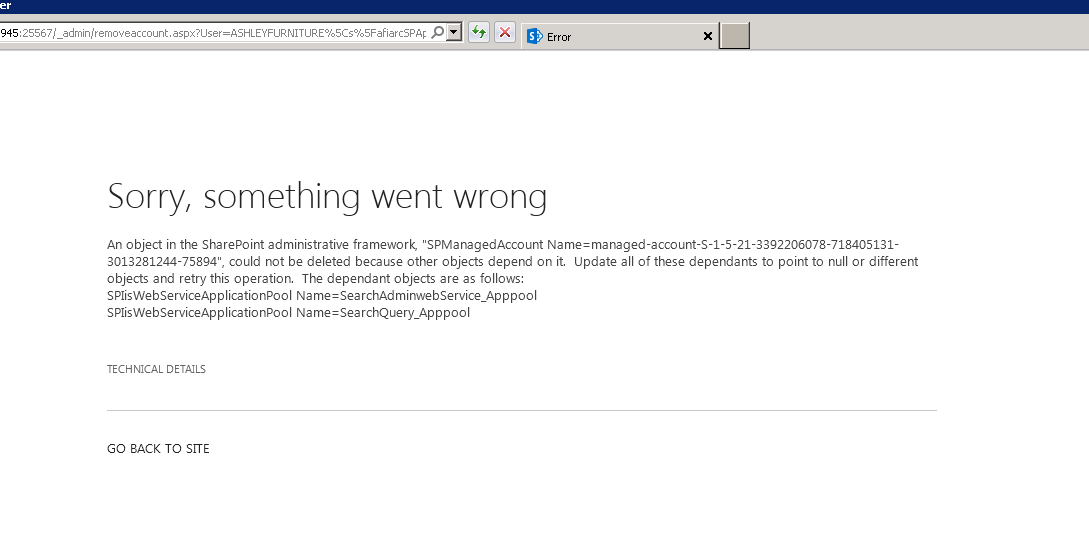 Error message while trying to delete sharepoint managed account